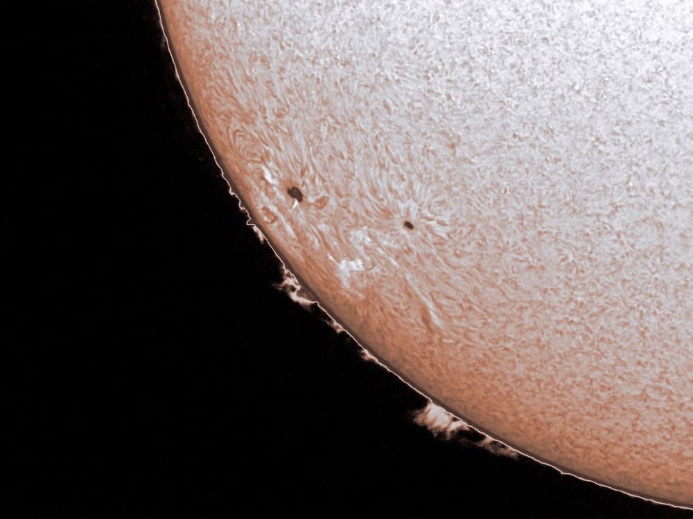 Sun in Ha, with flares and coronal ejecta visible