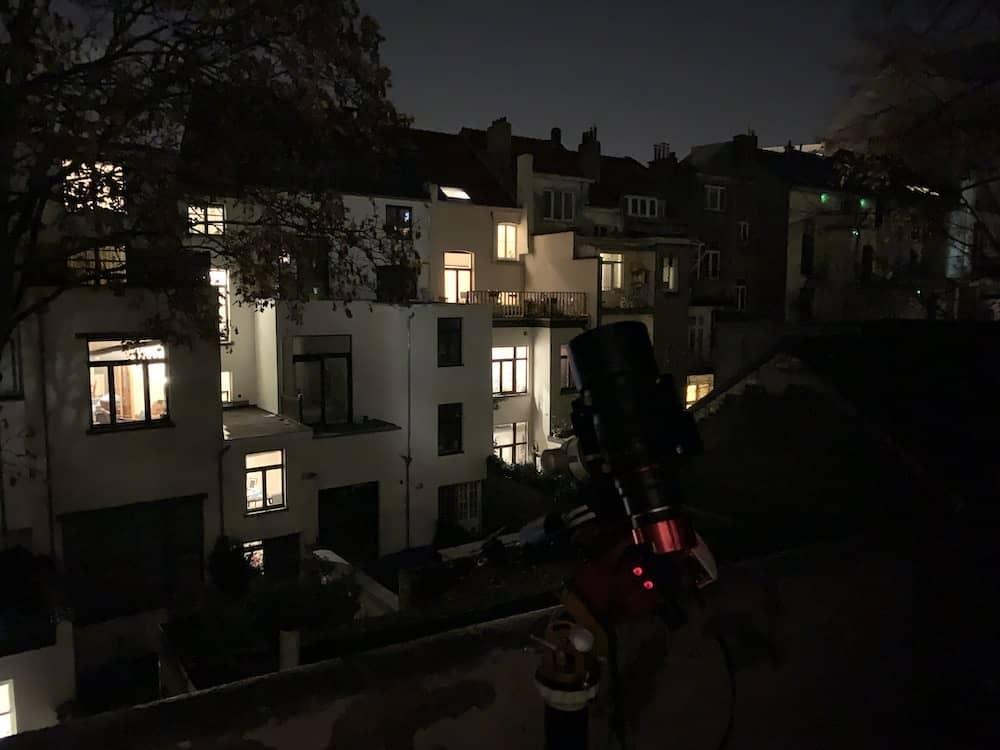 setup to shoot the Flaming Star Nebula from balcony
