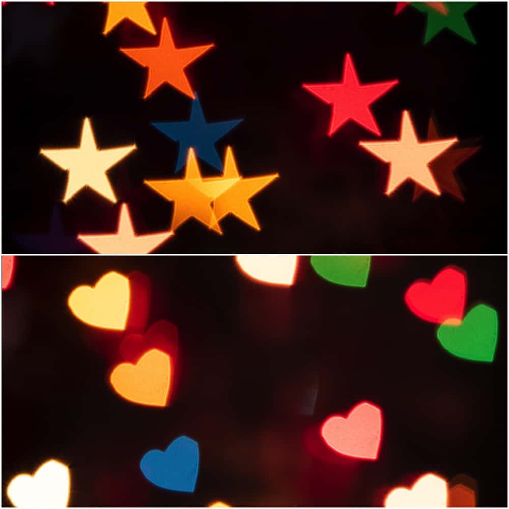 creative Bokeh effect with different shapes