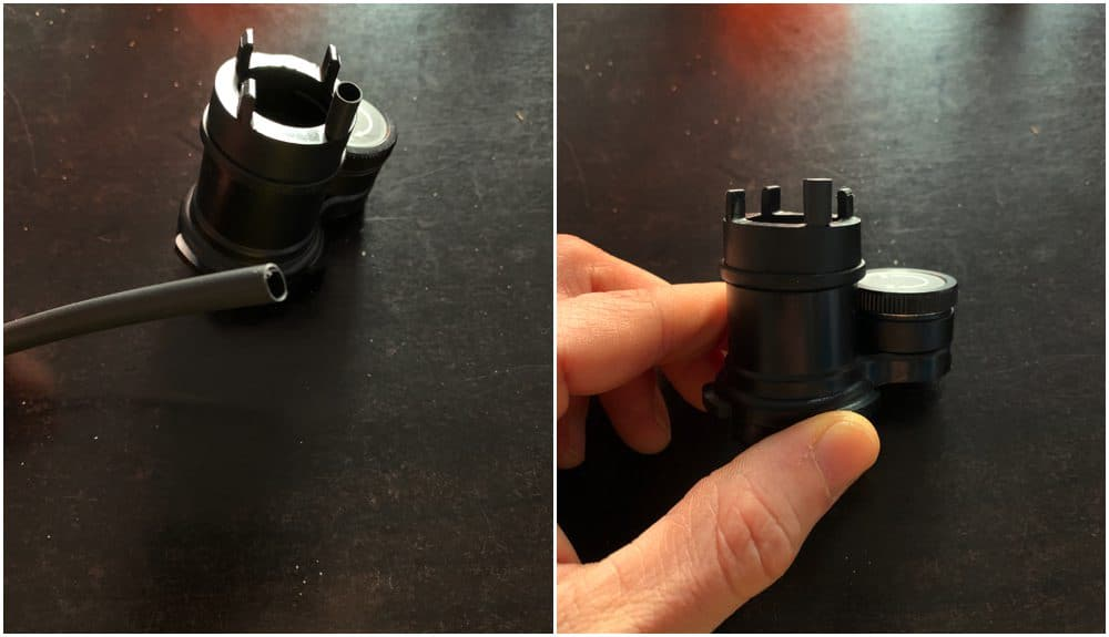 small heat shrinking tube wrapped around the legs of the Polar Scope Illuminator