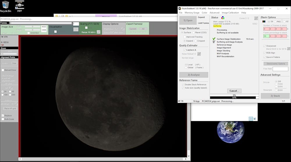 Autostakkert! 3 solar, lunar and planatary image stacking