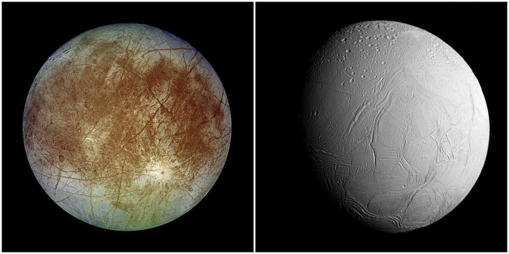 Europa (left) and Enceladus (right) show very little craters