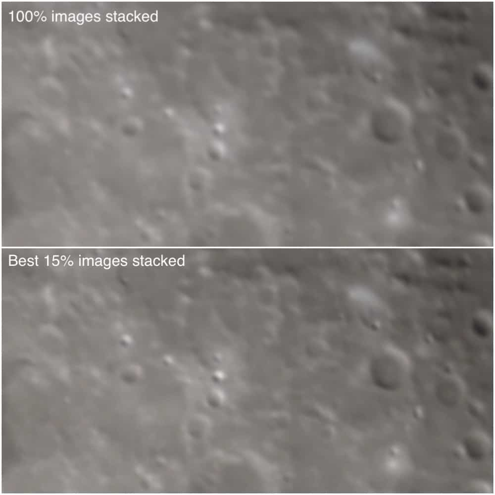 comparison between stacking all raw images compared to only the top images