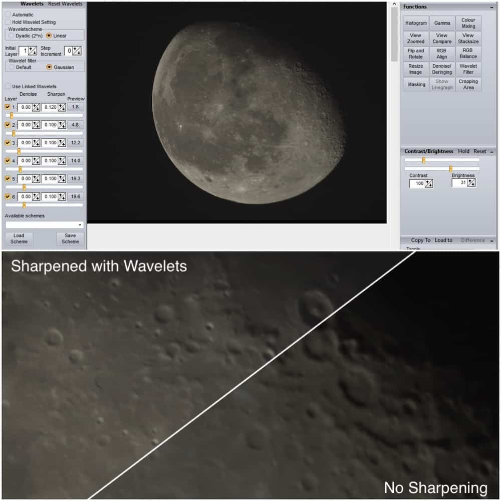 effect of using Wavelet sharpening with Registax 6