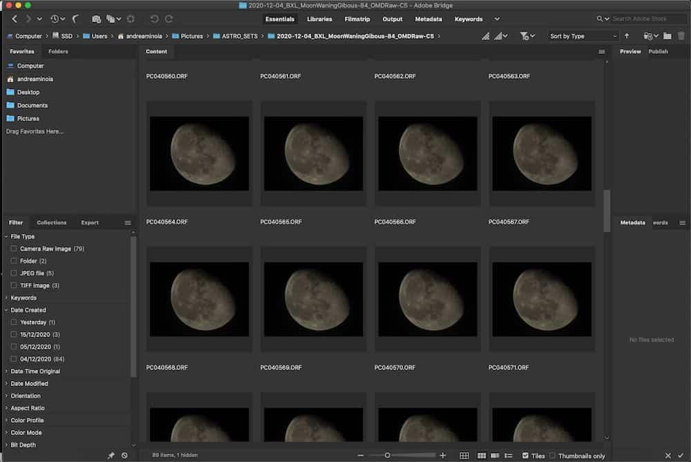 image sequence in Adobe Bridge CC