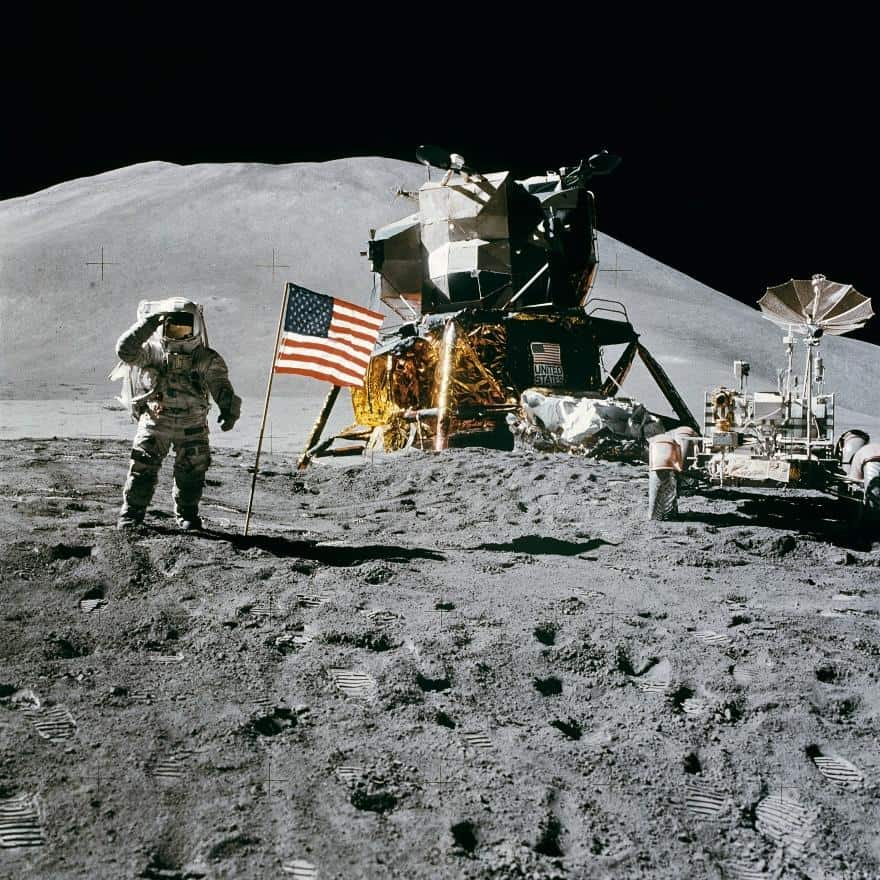 Apollo 15 flag deployment