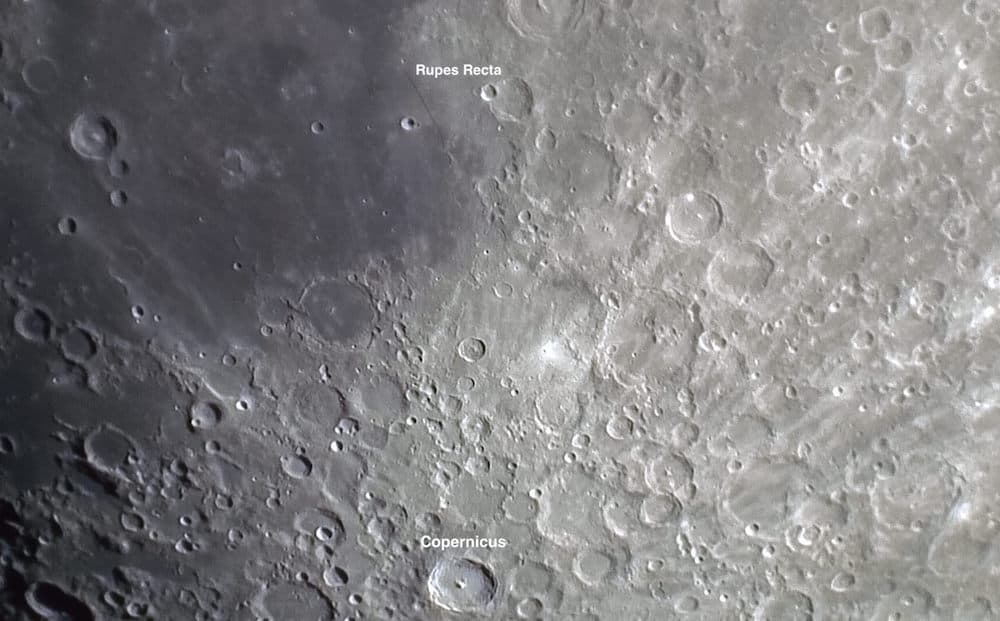 Close up of the lunar surface showing details