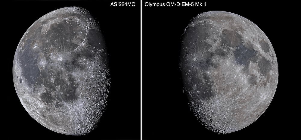 Comparison between photographing the Moon using astrocamera and Olympus in video mode.