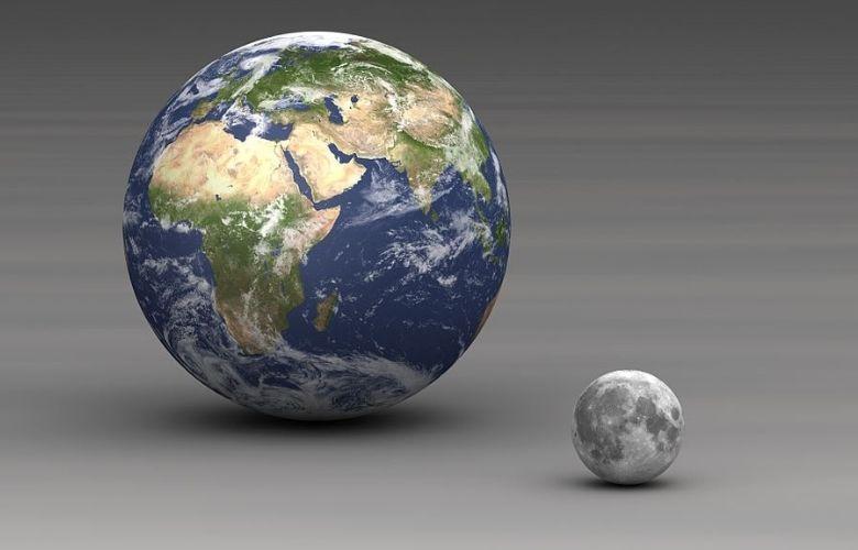Earth-moon size comparison