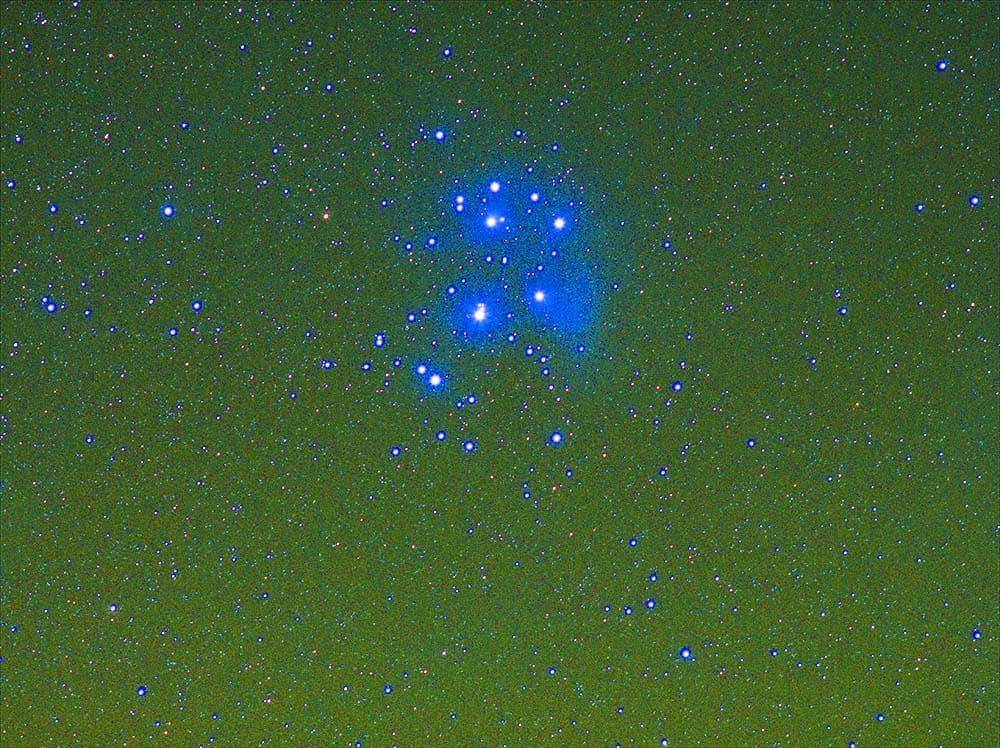 Edited photo of the Pleiades