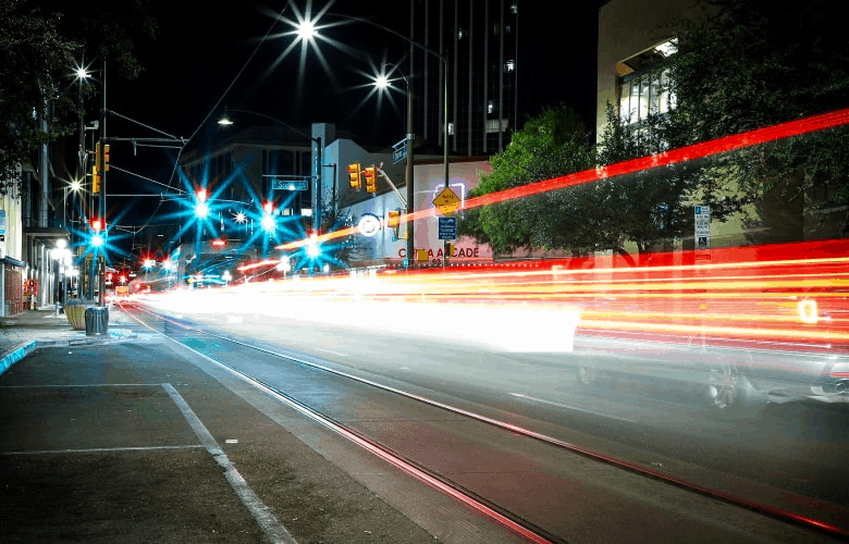 Light trails from passing traffic