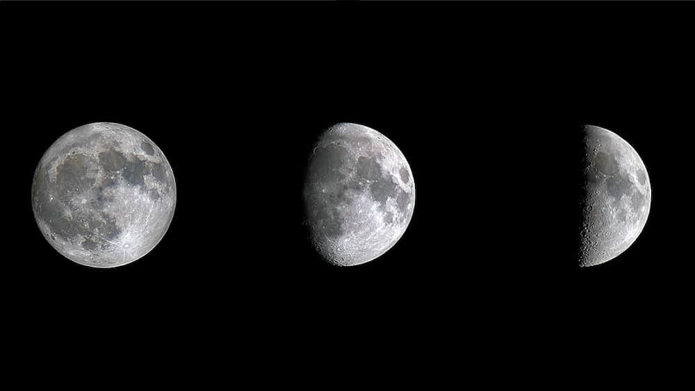 The Moon in three phases - Full, Waxing Gibbous, and 1st quarter