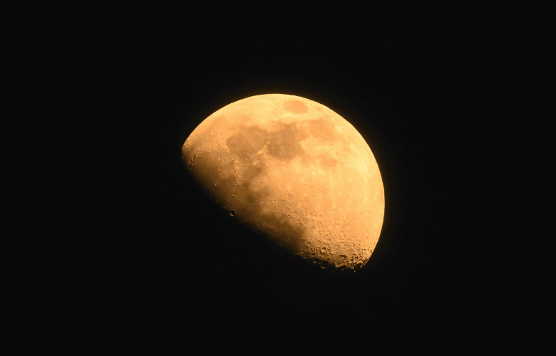 The Moon appears to be warm due to its yellowish color