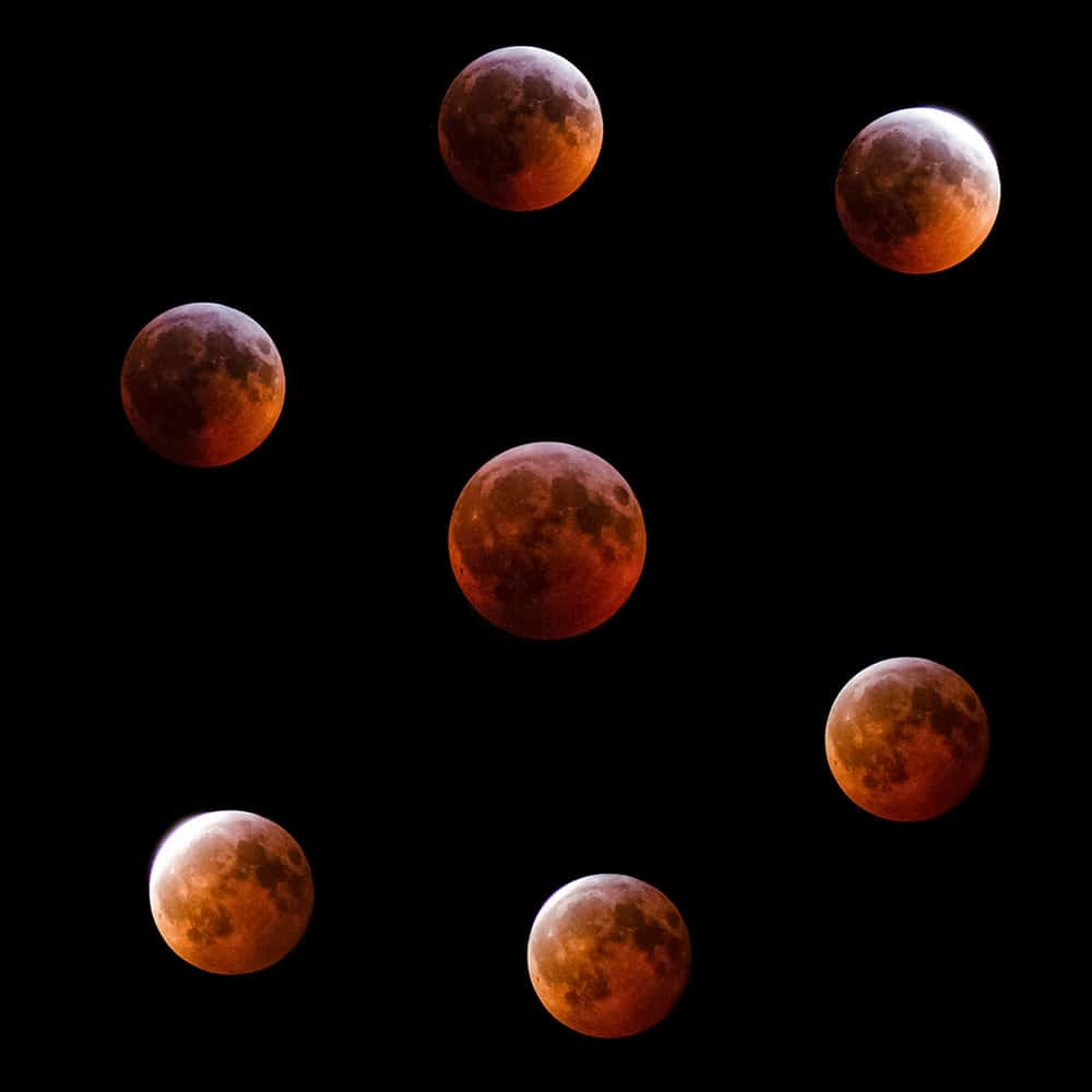 The unfolding of the total lunar eclipse in January 2019