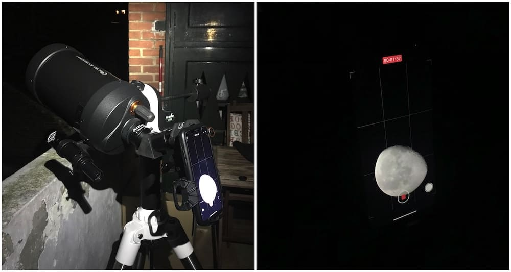 Using iPhone in eyepiece projection with Celestron C5 telescope