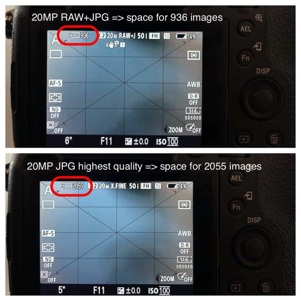 Cameras indicate how many images and video time you can save on your memory card