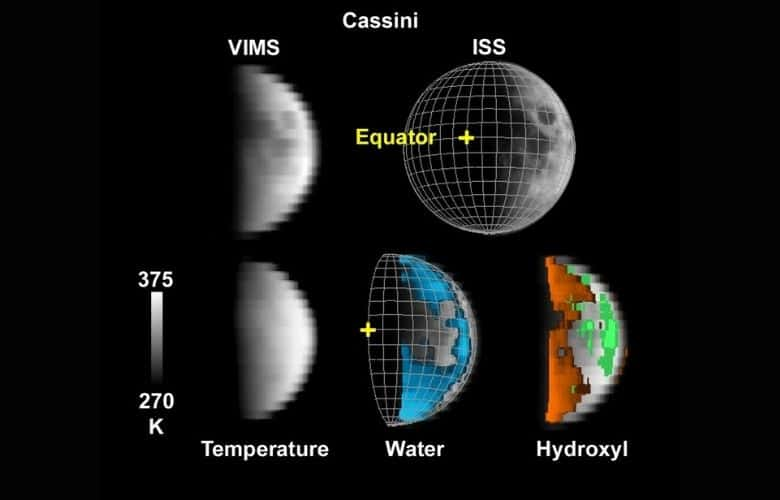 Cassini Look at Water on the Moon