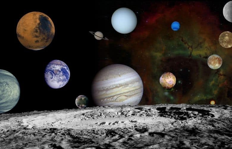 Solar system montage of the nine planets and four large moons of Jupiter