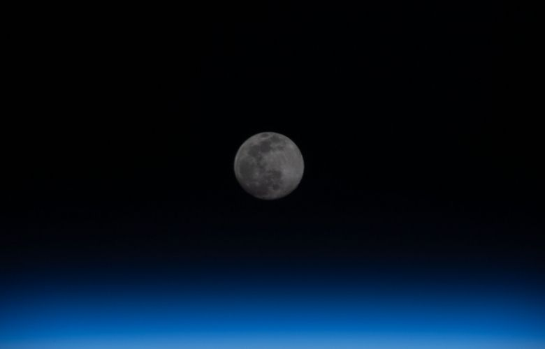 The moon above Earth's atmosphere