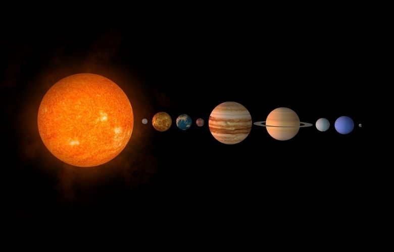The sun and the planets of our solar system