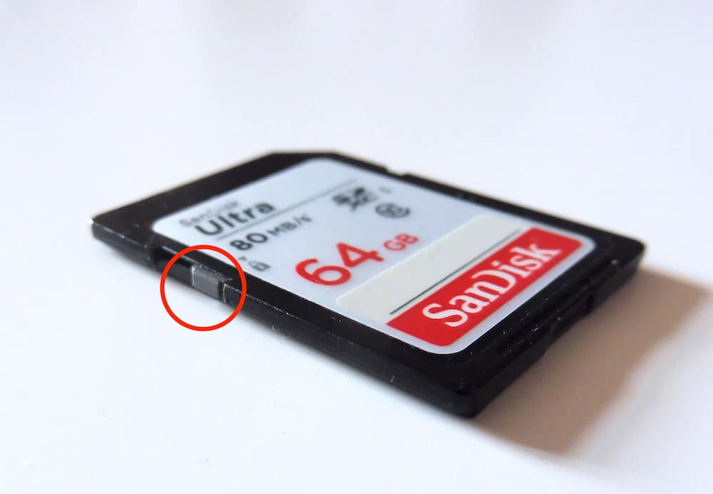 The switch to protect an SD from writing new data.