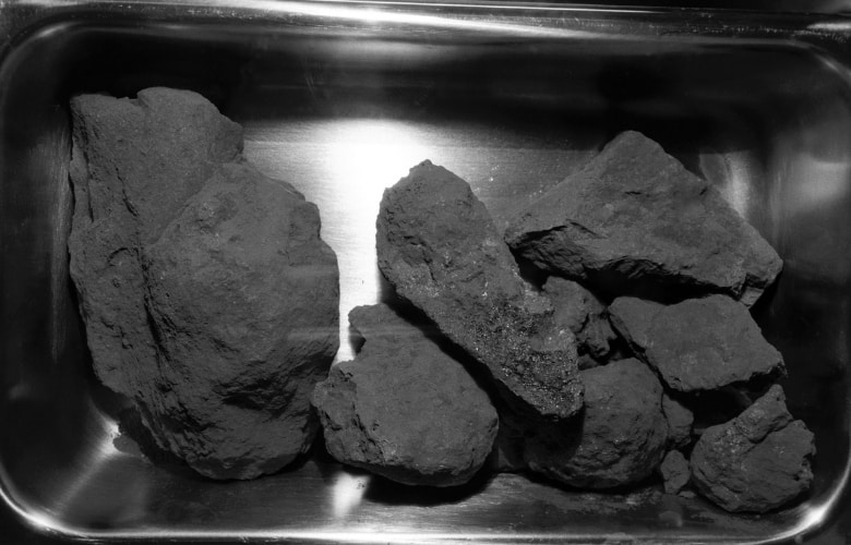 View of lunar rocks contained on second Apollo 11 sample return container