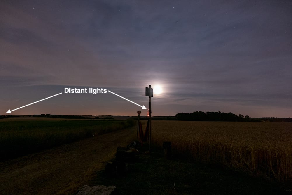 You can spot distant lights that are useful to get a reasonably good focus to infinity