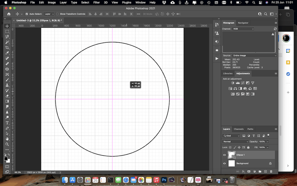 Centering the central shape in the canvas.