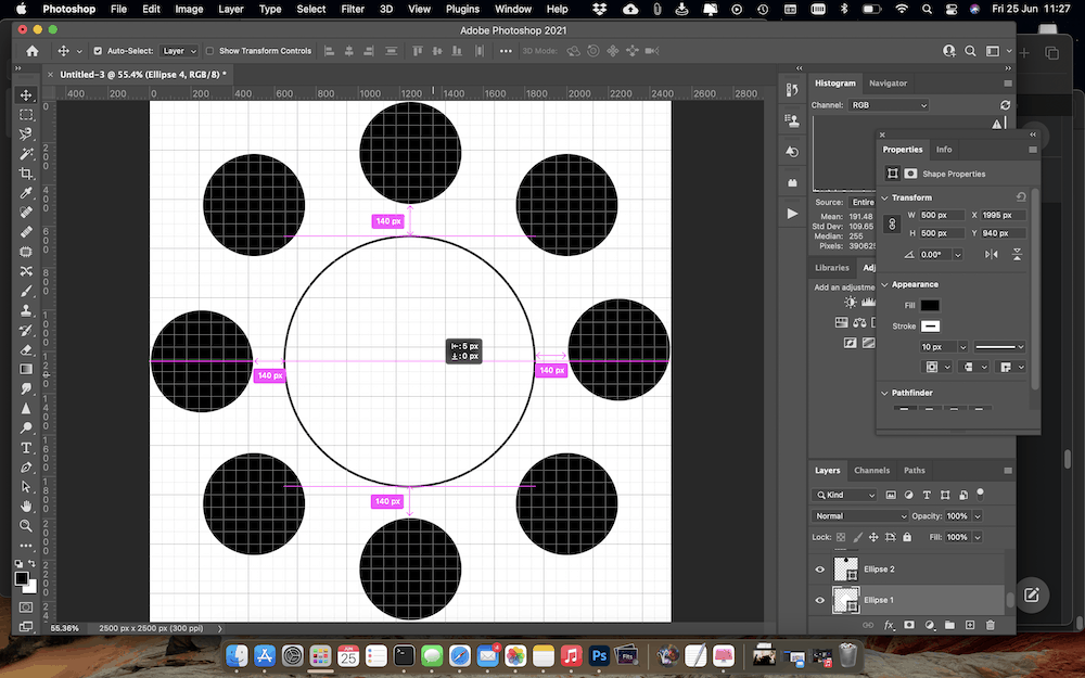 Checking that all the shapes in the final layout are properly aligned.