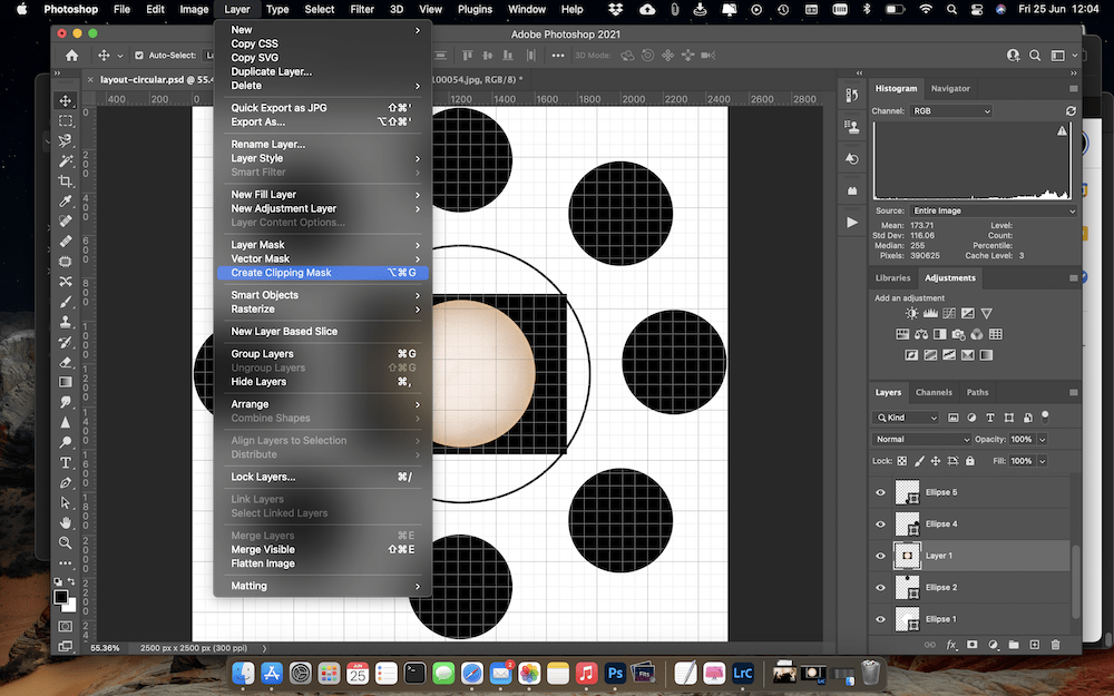 Creating the Clipping Mask for the new image layer using the shape at 12 o'clock.