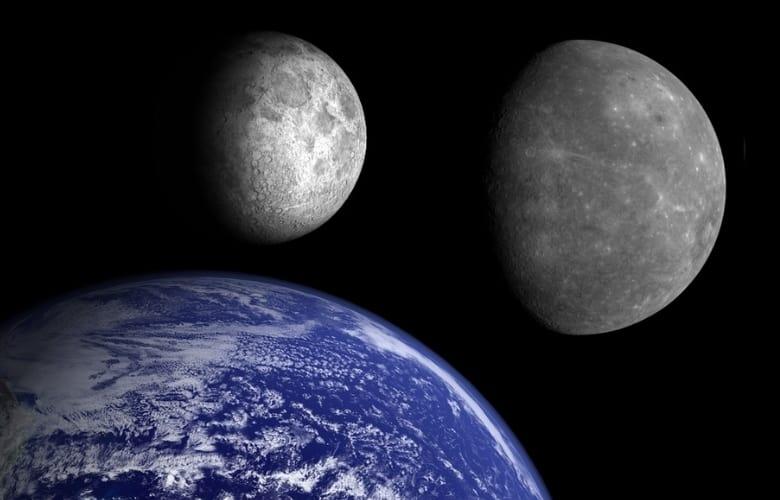 Earth, Mercury and the Moon