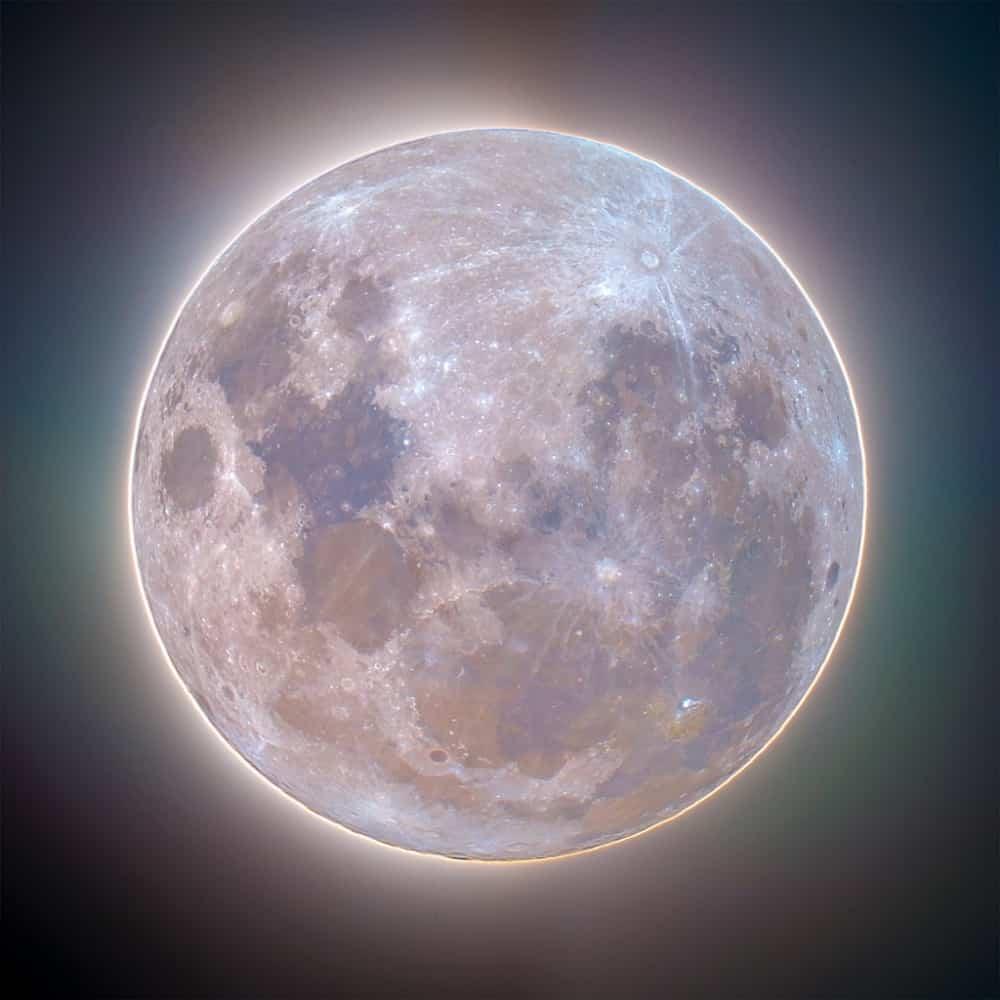 Luminous Supermoon Corona in Full Colour