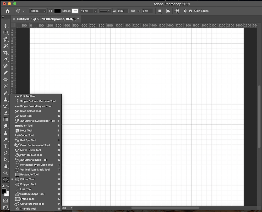 Selecting the Ellipse Tool from the Photoshop toolbar.