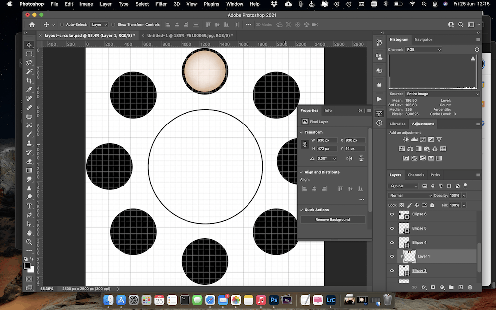 The first image in the eclipse timeline is all set, nicely centered in the shape at the top of the collage.