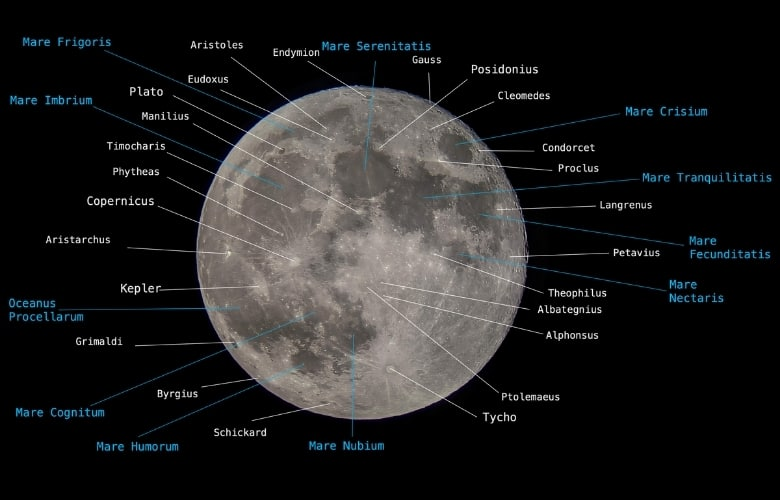 Topography of the Moon - Moon Craters and Seas