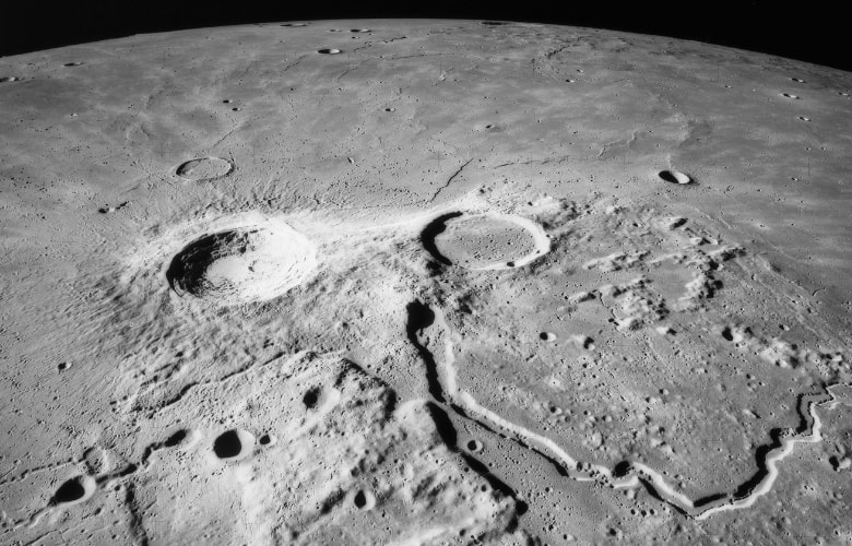 View of Schroeter's Valley and crater Aristarchus photographed by Apollo 15