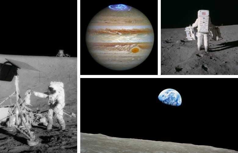 Astronauts and passing spacecraft have captured many images of planets and moons, but these images do not include stars.