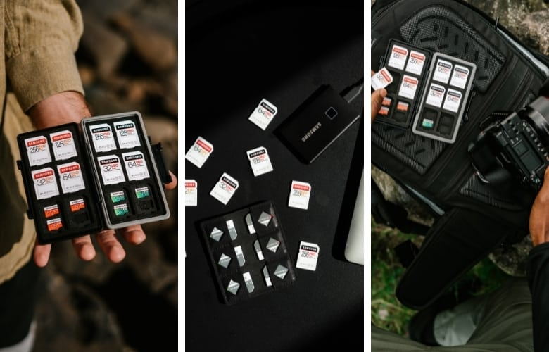 Get a memory card holder that can hold memory cards from all of the devices you'll be using to photograph the night sky.