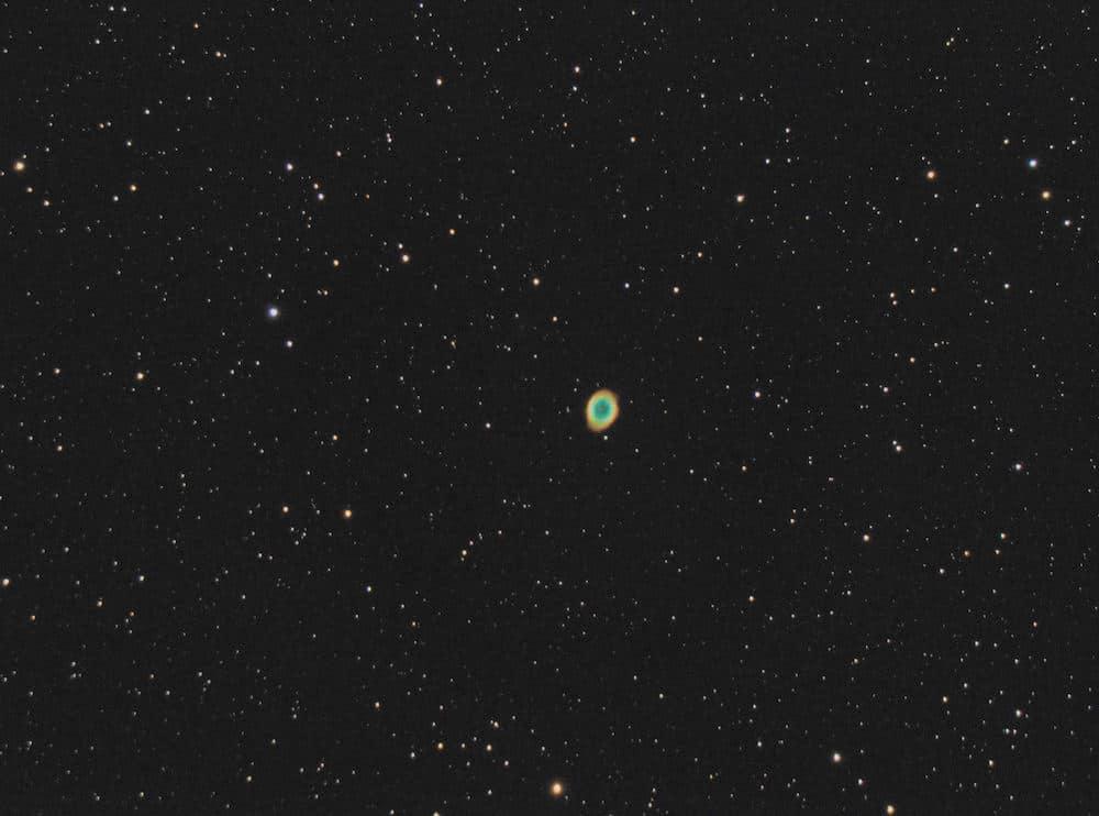 M57 - The Ring Nebula. Celestron C5 reduced on Az-GTI in equatorial mode.