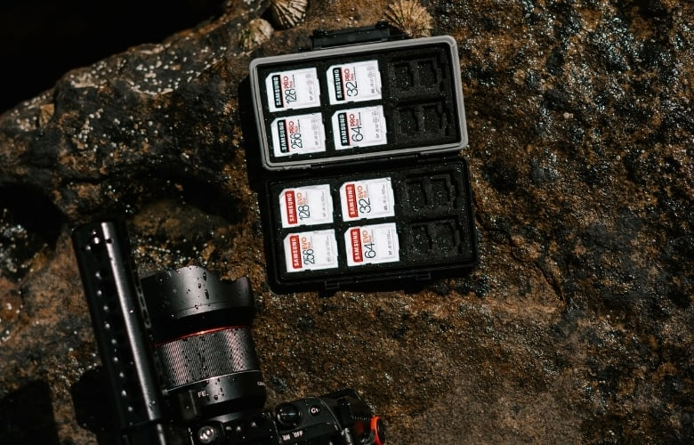 Memory cards in a holder, and a camera resting on a wet rock.