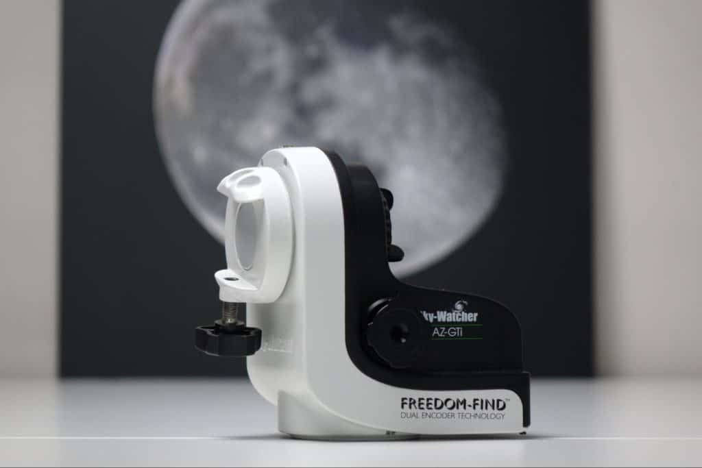 The Az-GTI, a little altaz mount for observation and planetary, lunar, and solar photography.
