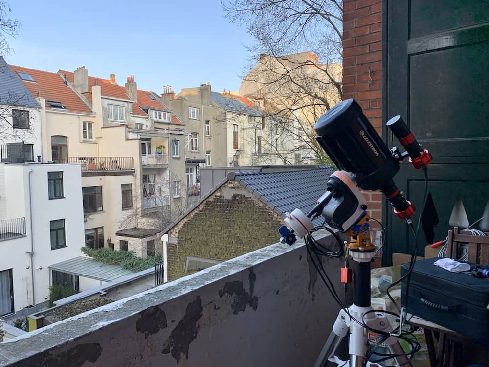 Waiting for the Galaxy to shine in the sky above Brussels.